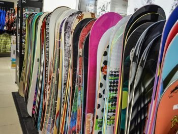 Snowboards in a ski and snowboard shop