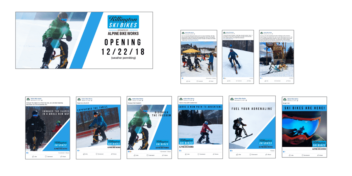 Marketing assets and social media created by Snowsports Marketing for Killington Ski Bike/Alpine Bike Works