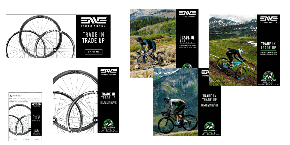 Enve wheels promo marketing assets created by Snowsports Marketing for Alpine Bike Works
