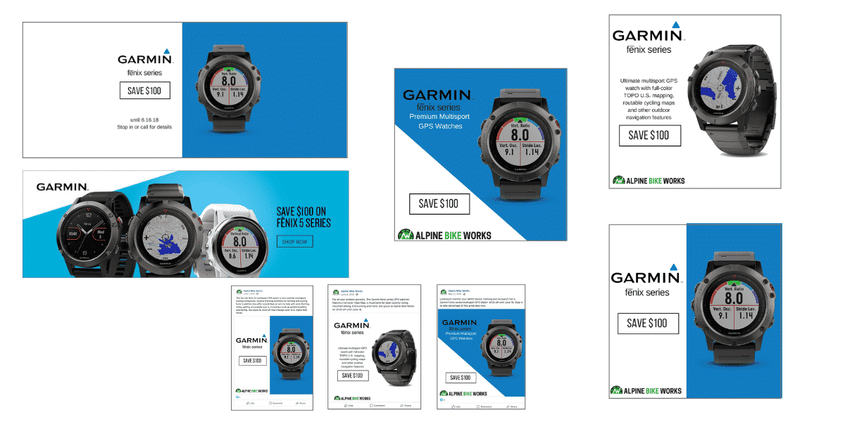 Garmin sale marketing assets created by Snowsports Marketing for Alpine Bike Works.