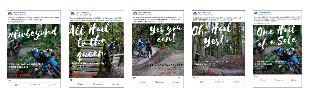 Liv Hail sale social media ads created by Snowsports Marketing for ALpine Bike Works