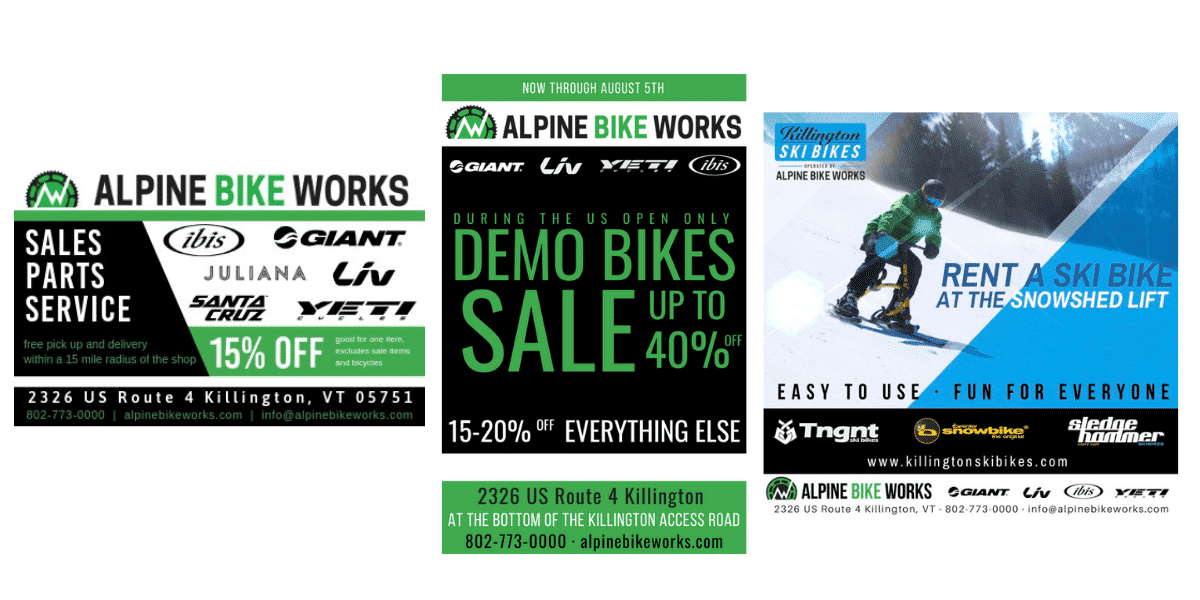 Alpine Bike Works and Killington Ski Bike Print Ads created by Snowsports Marketing